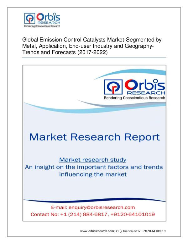 Global Emission Control Catalysts Forecast and Opp