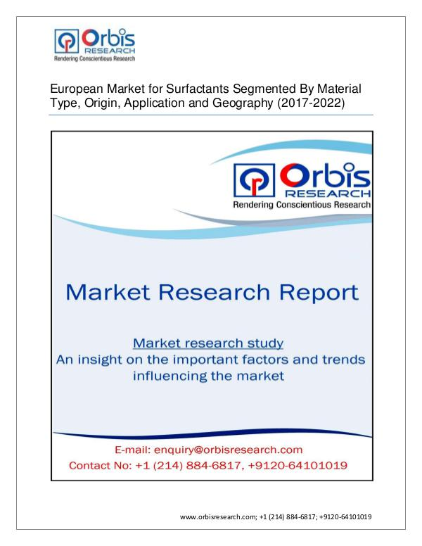 European Market for Surfactants Segmented By Mater
