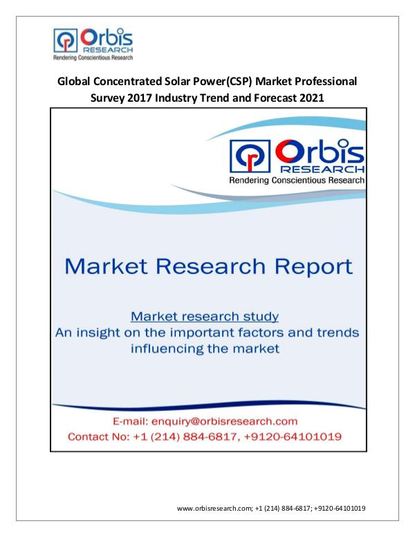 Energy Market Research Report Global Concentrated Solar Power(CSP) Market Profes