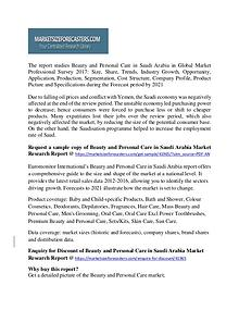 Beauty and Personal Care in Saudi Arabia Market Sales, Revenue 2017
