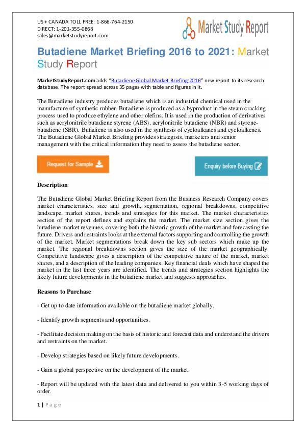 Butadiene Industry Key Companies Analysis 2016 To 2019 Butadiene Market Research Report Now Available at