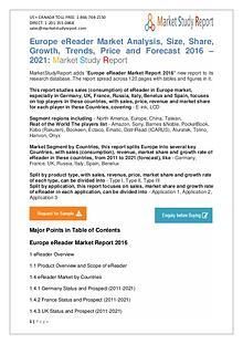 Europe eReader Market Manufacturing and Overview Forecast 2016-2021