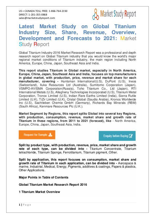 Market Watch - Global Titanium Industry 2016 Market Watch - Global Titanium Industry 2016