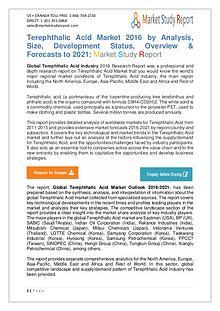 Global Terephthalic Acid Market Manufacturing and Forecast to 2021