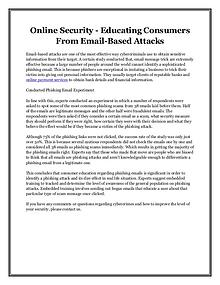 Online Security - Educating Consumers From Email-Based Attacks