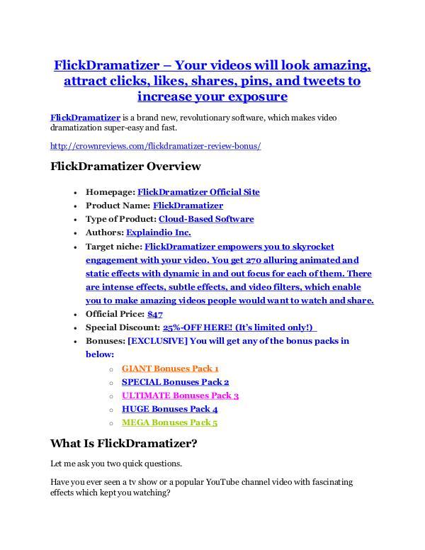 FlickDramatizer Review – (Truth) of FlickDramatizer and Bonus FlickDramatizer Review and (Free) GIANT $14,600 BO