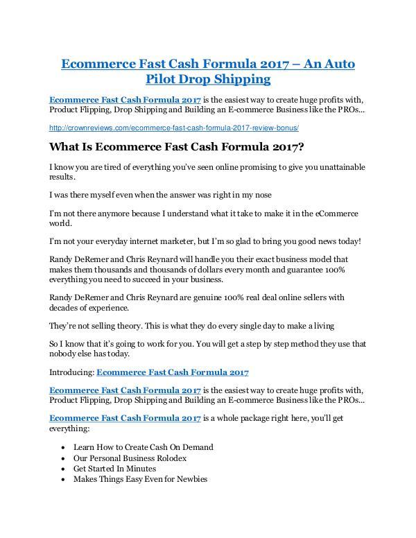 Ecommerce Fast Cash Formula 2017 review and (SECRET) $13600 bonus Ecommerce Fast Cash Formula 2017 review and (SECRE