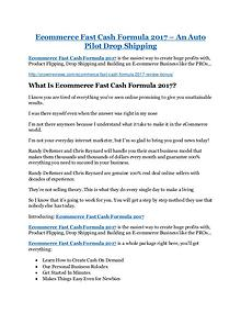 Ecommerce Fast Cash Formula 2017 review and (SECRET) $13600 bonus