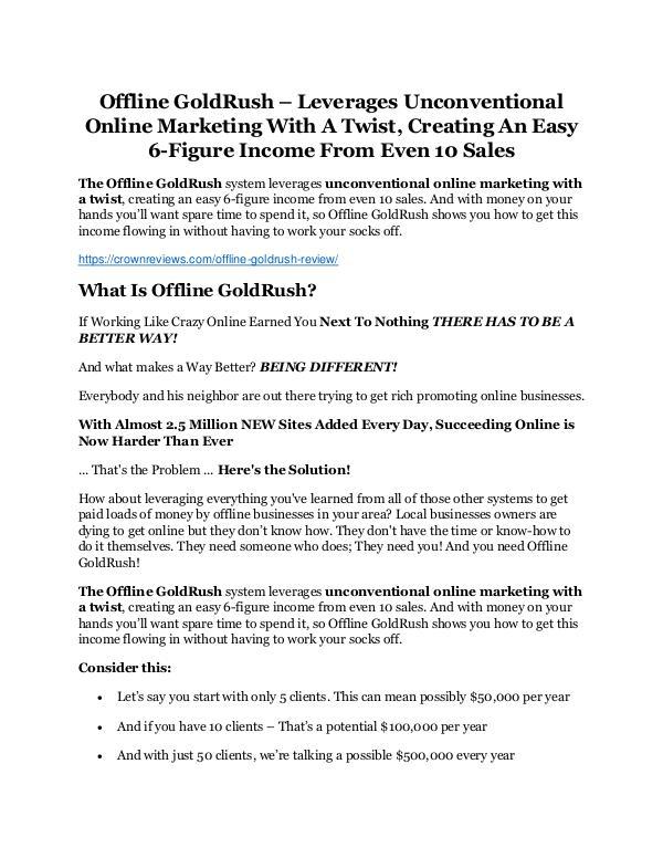 Offline GoldRush Review and Premium $14,700 Bonus Offline GoldRush Review