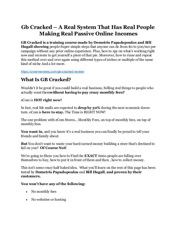 GB Cracked review and Exclusive $26,400 Bonus AMAZING!! GB Cracked Review