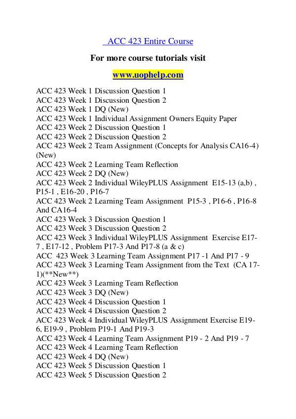 ACC 423 Education Begins/uophelp.com ACC 423 Education Begins/uophelp.com