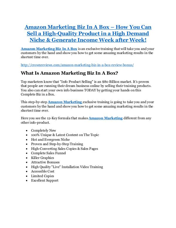Amazon Marketing Biz In A Box review and (SECRET) $13600 bonus Amazon Marketing Biz In A Box review -65% Discount