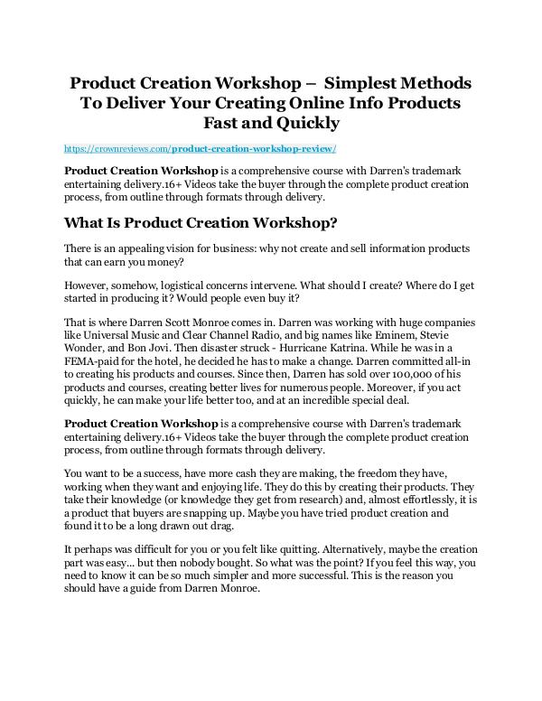 Product Creation Workshop review and $26,900 bonus - AWESOME! Product Creation Workshop Review
