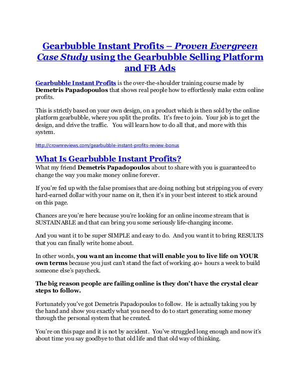 Gearbubble Instant Profits review in detail – Gearbubble Instant Profits Massive bonus Gearbubble Instant Profits Review & GIANT bonus packs