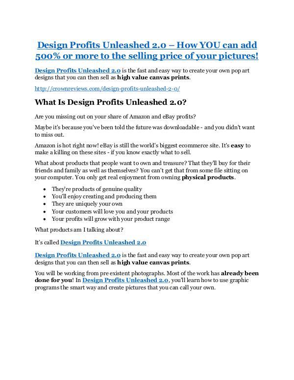 Design Profits Unleashed 2.0 Review & (BIGGEST) jaw-drop bonuses Design Profits Unleashed 2.0 Review & GIANT bonus packs