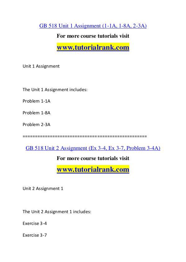 GB 518 Course Great Wisdom / tutorialrank.com GB 518 Course Great Wisdom / tutorialrank.com