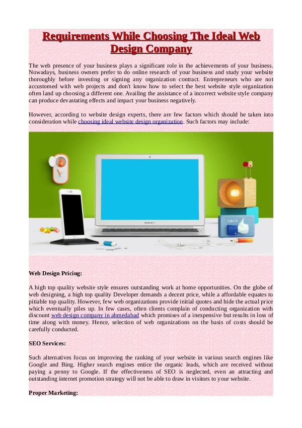 Requirements While Choosing The Ideal Web Design Company Requirements While Choosing The Ideal Web Design C