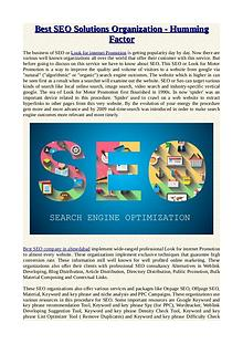 Best SEO Solutions Organization - Humming Factor