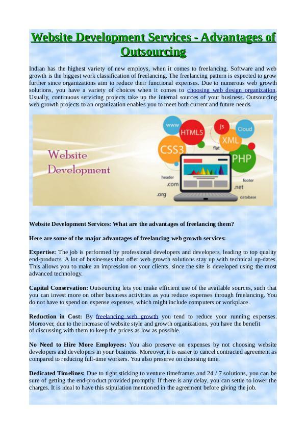 Website Development Services - Advantages of Outsourcing Website Development Services - Advantages of Outso