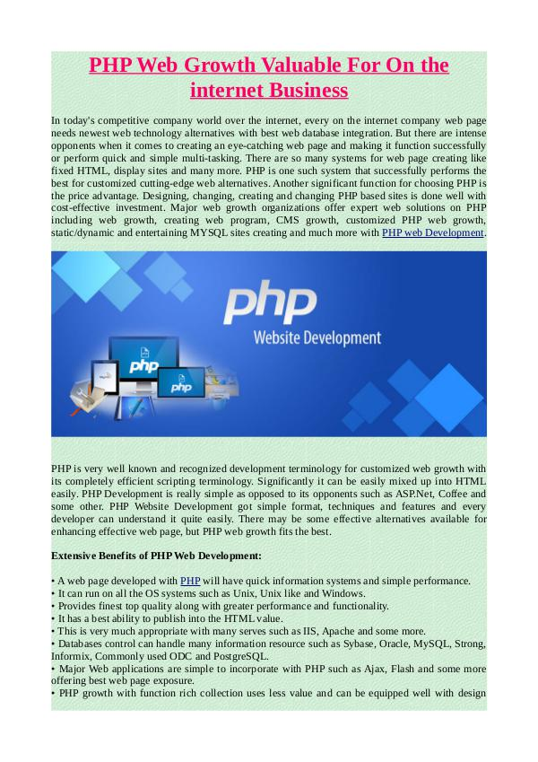 PHP Web Growth Valuable For On the internet Business.pdf PHP Web Growth Valuable For On the internet Busine