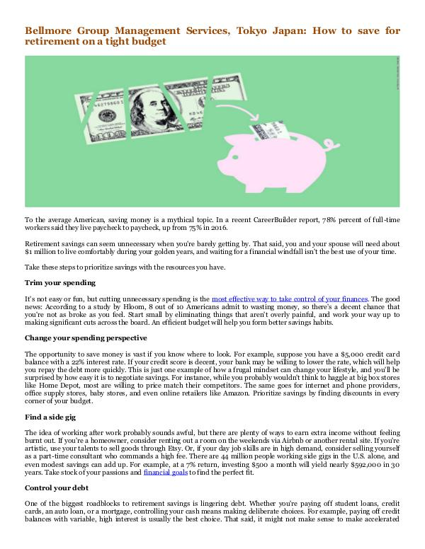 Bellmore Group Management Services, Tokyo Japan How to save for retirement on a tight budget