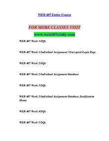 WEB 407 STUDY Invent Yourself/web407study.com