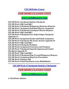 CJS 240 MASTER Career Begins/cjs240master.com