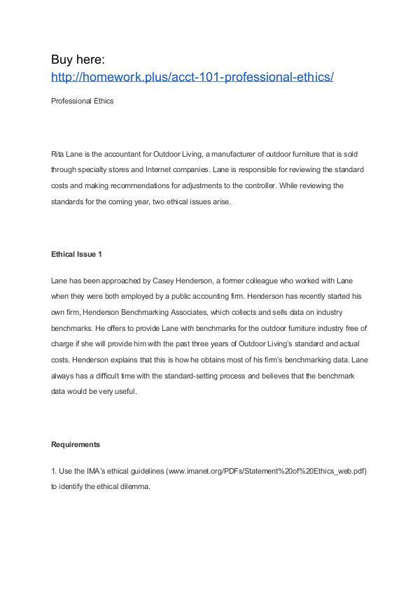 ACCT 101 Professional Ethics ACCT 101 Professional Ethics