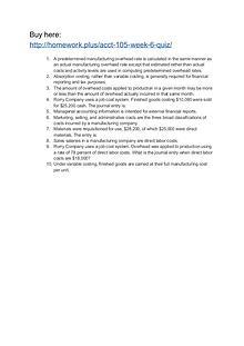 ACCT 105 Week 6 quiz