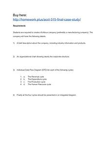 ACCT 315 Final Case Study