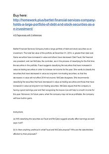 Bartlet Financial Services Company holds a large portfolio of debt an