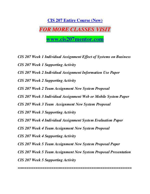 CIS 207 MENTOR Future Starts Here/cis207mentor.com CIS 207 MENTOR Future Starts Here/cis207mentor.com