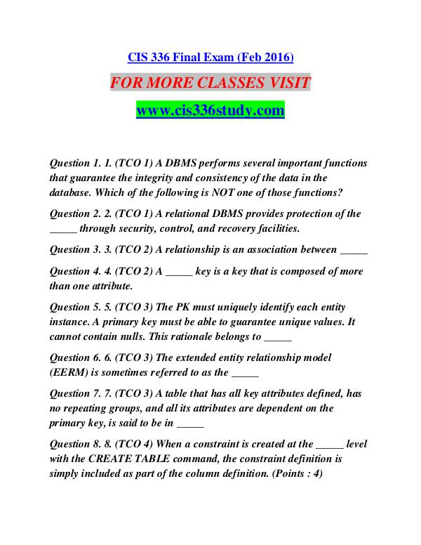 CIS 336 STUDY Future Starts Here/cis336study.com CIS 336 STUDY Future Starts Here/cis336study.com