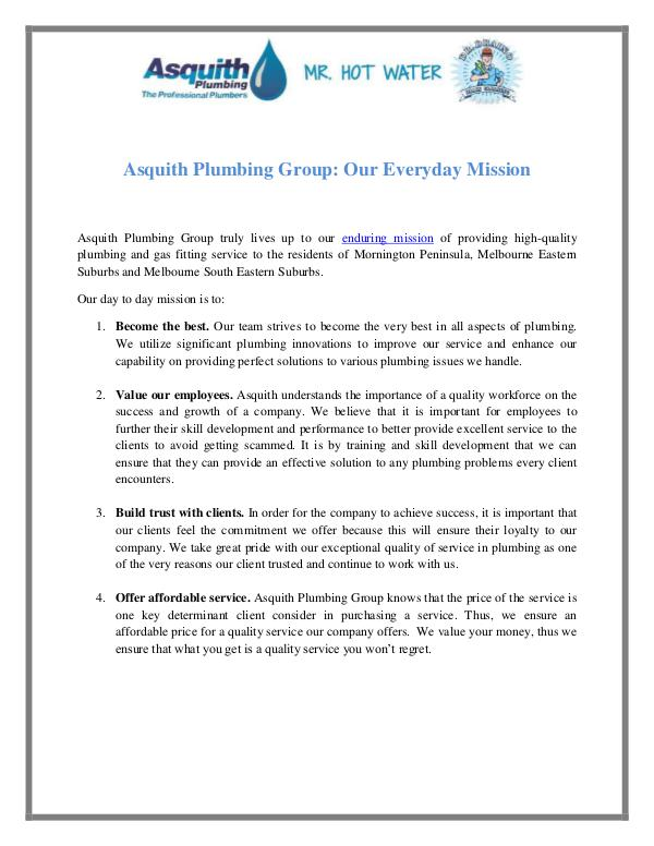 Asquith Plumbing Group Asquith Plumbing Group: Our Everyday Mission