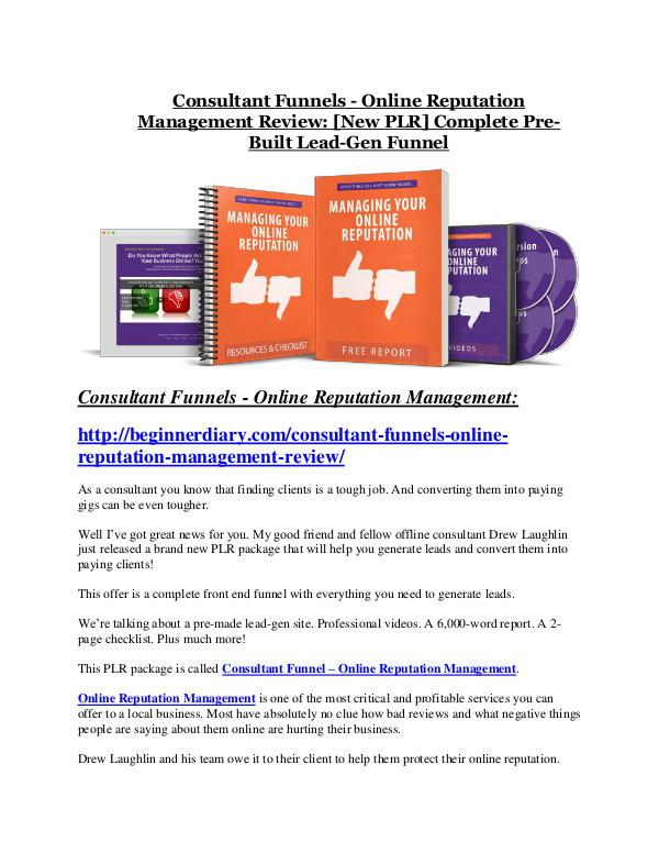 Marketing Consultant Funnels-Online Reputation Management REVIEW - DEMO of Consultant Funnels-Online Reputation Management
