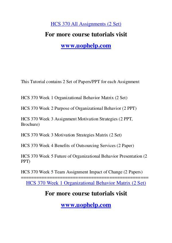 HCS 370 Education Begins/uophelp.com HCS 370 Education Begins/uophelp.com