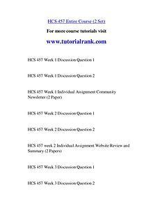 HCS 457 Course Great Wisdom / tutorialrank.com