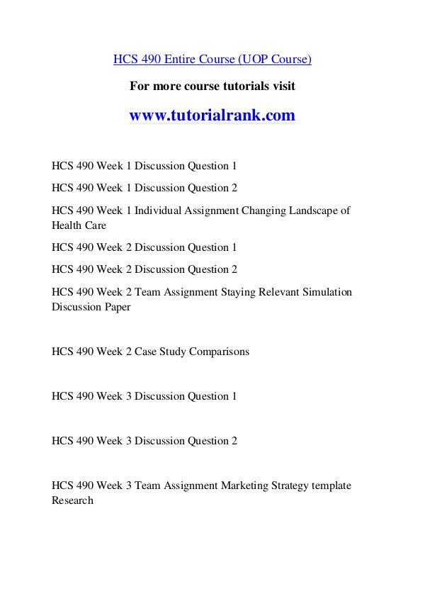 HCS 490 Course Great Wisdom / tutorialrank.com HCS 490 Course Great Wisdom / tutorialrank.com