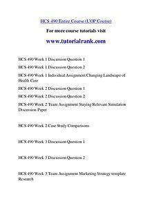 HCS 490 Course Great Wisdom / tutorialrank.com