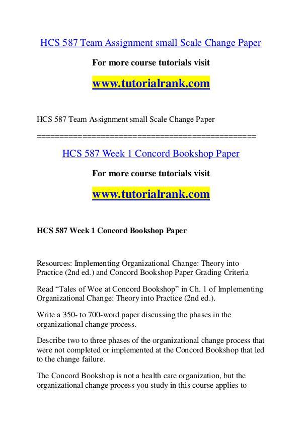 HCS 587 Course Great Wisdom / tutorialrank.com HCS 587 Course Great Wisdom / tutorialrank.com