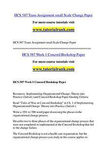 HCS 587 Course Great Wisdom / tutorialrank.com
