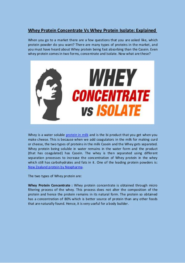 Whey Protein Concentrate Vs Whey Protein Isolate: Explained Whey Protein Concentrate Vs Whey Protein Isolate: