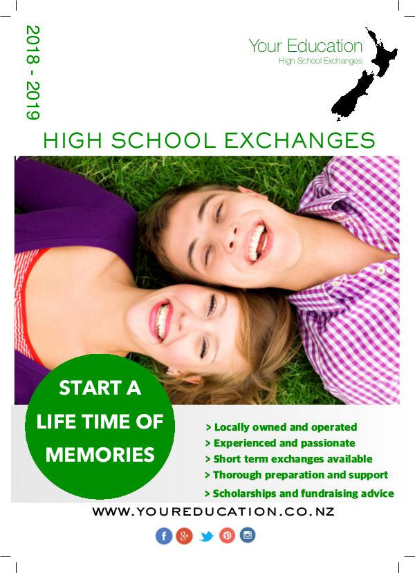 Your Education High School Exchanges Brochure YOUR EDUCATION BROCHURE 2018