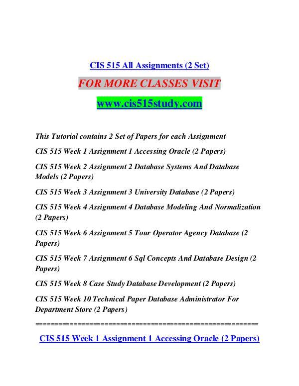 CIS 515 STUDY  Future Starts Here/cis515study.com CIS 515 STUDY  Future Starts Here/cis515study.com