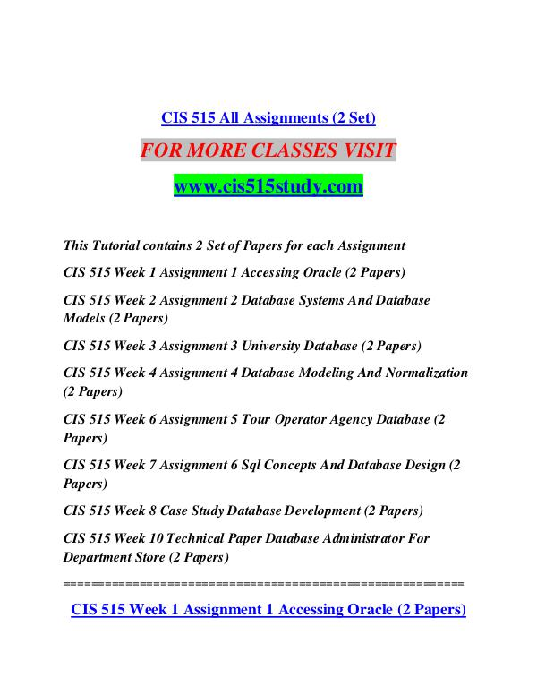 cis 515 assignment 3