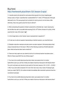 CHEM 131 Lesson 3 Quiz