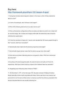 CHEM 131 Lesson 4 Quiz