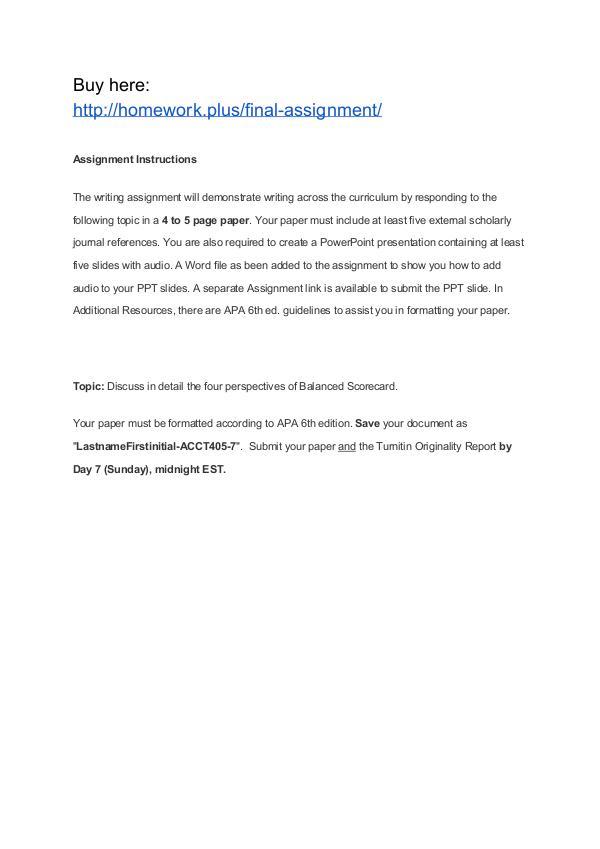 Final Assignment APU