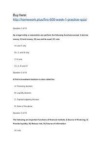 FINC 600 Week 1 Practice Quiz