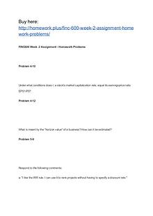 FINC 600 Week 2 Assignment Homework Problems